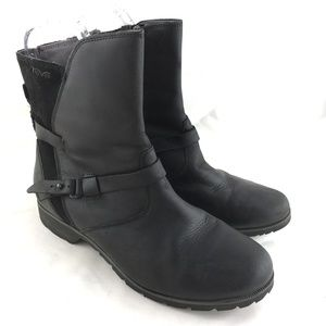 Short boots black leather waterproof De La Vina